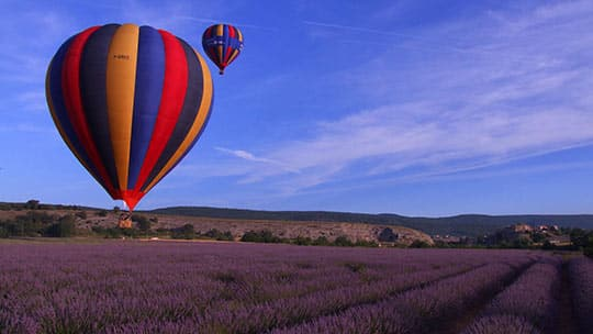 Balloon flight in Haute Provence | Overview of lavender from the Valensole plateau